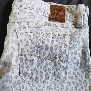 Lucky Brand Tan Leopard Cropped Jeans